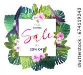 bright green floral design... | Shutterstock . vector #674119243
