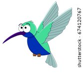 cute cartoon hummingbird.... | Shutterstock .eps vector #674120767
