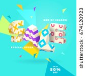 fresh sale banner  3d letters... | Shutterstock .eps vector #674120923