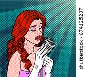 jazz singer pop art. performer... | Shutterstock .eps vector #674125237
