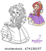 beautiful princess with flowers ... | Shutterstock .eps vector #674138197
