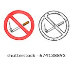 no smoking sign. vector hand... | Shutterstock .eps vector #674138893