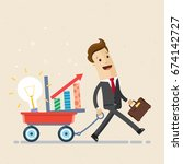 happy businessman goes with a... | Shutterstock .eps vector #674142727