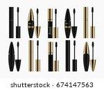 cosmetics  mascara  different... | Shutterstock .eps vector #674147563