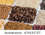 roasted coffee beans in set of...   Shutterstock . vector #674151727
