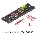 isometric asphalt compactor... | Shutterstock .eps vector #674154133