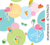 seamless pattern of summer...   Shutterstock .eps vector #674159623