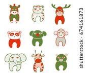 set of cute cartoon animals...   Shutterstock .eps vector #674161873
