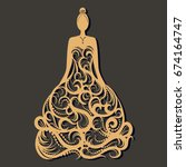 ornate wedding dress laser cut. ... | Shutterstock .eps vector #674164747