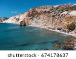 sea beach in milos island ... | Shutterstock . vector #674178637