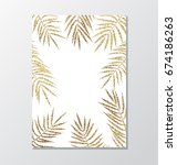 gold tropical palm leaves card... | Shutterstock .eps vector #674186263