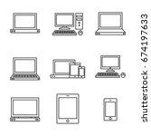 set of computer line icon. line ...