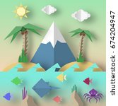 origami style crafted out of... | Shutterstock .eps vector #674204947