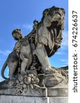 Small photo of Detail of art on the Alexander III bridge in Paris, France.