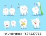cute cartoon tooth on the blue... | Shutterstock . vector #674227783