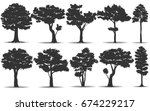set of tree silhouette on white ... | Shutterstock .eps vector #674229217