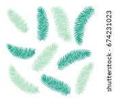 set of tropical palm leaves... | Shutterstock .eps vector #674231023