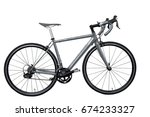 Grey Road Bike Bicycle On Whit...