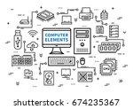 computer desktop elements... | Shutterstock .eps vector #674235367