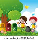 boy and girl cleaning the park... | Shutterstock .eps vector #674244547