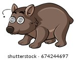wombat with dizzy face... | Shutterstock .eps vector #674244697