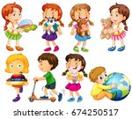 little boy and girl playing... | Shutterstock .eps vector #674250517