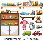 different toys on the wooden... | Shutterstock .eps vector #674250583