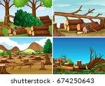 deforestation scenes with... | Shutterstock .eps vector #674250643