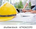 hands of engineer group working ...   Shutterstock . vector #674262193