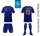 set of short sleeve soccer... | Shutterstock .eps vector #674275663