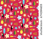 hawaii pattern with tucans ... | Shutterstock .eps vector #674284603