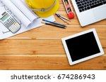 architect desk project in... | Shutterstock . vector #674286943