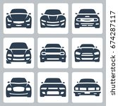 front view of different cars ... | Shutterstock .eps vector #674287117