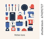 various things in the kitchen... | Shutterstock .eps vector #674292727