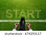 top view of businessman tie his ... | Shutterstock . vector #674293117