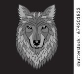 embroidery wolf grayscale head. ... | Shutterstock .eps vector #674301823
