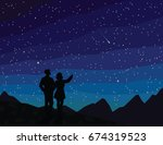 make a wish. silhouette of... | Shutterstock .eps vector #674319523