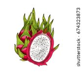 dragon fruit isolated sketch.... | Shutterstock .eps vector #674323873
