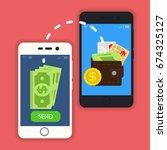 vector digital mobile wallet... | Shutterstock .eps vector #674325127