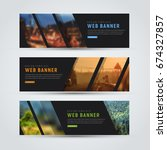 set of horizontal web banners.... | Shutterstock .eps vector #674327857