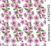 cherry blossom chaotic seamless ... | Shutterstock .eps vector #674329453