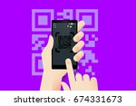 hand holding smartphone with... | Shutterstock .eps vector #674331673