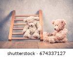 two retro teddy bear toys... | Shutterstock . vector #674337127