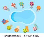 swimming pool  top view.... | Shutterstock .eps vector #674345407