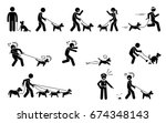 Stock vector man walking dog stick figures depict people walking pet dogs on a leash in various situations 674348143