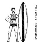 old fashioned surfer engraving... | Shutterstock . vector #674357467