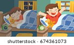 a little girl sleeps in the... | Shutterstock .eps vector #674361073