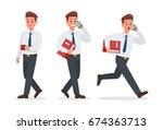 businessman working in office... | Shutterstock .eps vector #674363713