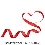 Red Heart Ribbon Isolated On...
