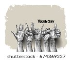 international youth day 12... | Shutterstock .eps vector #674369227